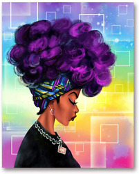 Hvest African American Canvas Wall Art Black Girl With Purple Afro Hair Artwork