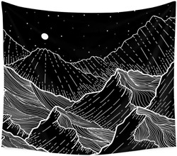 Moon Mountain Tapestry Wall Decor Black and White Mandala Tapestry for Bedroom