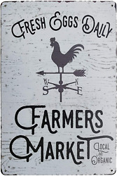 PXIYOU Fresh Eggs Daily Farmers Market Chicken Signs Vintage Metal Tin Sign Kitc