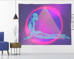 Psychedelic Aesthetic Tapestry Wall Hanging for Bedroom Trippy Pink Neon Backdro