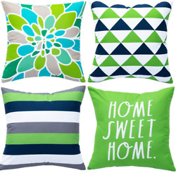WLNUI Set of 4 Decorative Pillow Covers 18x18 Inch Green Geometric Modern Throw