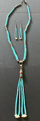 Vintage Native American Sterling Turquoise Coral Necklace And Earrings Signed Vnc