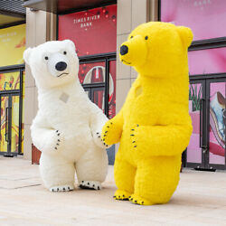 Christmas Big Inflatable Polar Bear Mascot Costume Suit Cosplay Party Game Dress