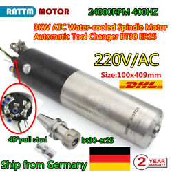 〖de Stock〗 3kw Atc 220v Water Spindle Motor Cnc Router Milling Bt30 Tool Holder