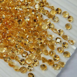 100pcs Natural Citrine 12 Mm Round Facted Cut Loose Gemstone Blue Fire