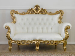 Sofa Boutique French Baroque Style Gold Leaf Faux Leather White Buttons Crystal