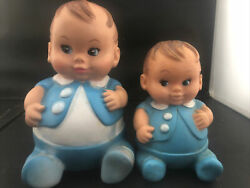 Lot Of 2 Vintage Undeena Doll Rubber Boy Squeeky Toy
