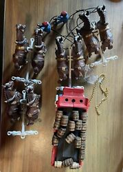 Vintage Cast Iron Budweiser Beer Clydesdale 6 Horses And Wagon With 18 Barrels