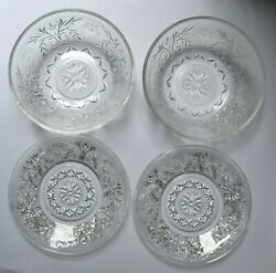 Vintage Anchor Hocking Sandwich Glass Two Saucer Cup Plates And Two Bowls Set