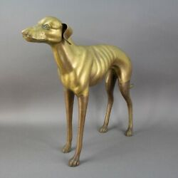Vintage Large Life Size Brass Whippet Greyhound Dog Statue Sculpture 26 Long