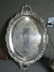 Lancaster Rose Pattern Large Silver Plated Tray Poole Silver Co
