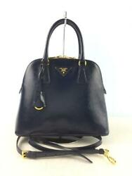 Prada Bl0908 2way Saffiano Vernic Leather Leather Navy Fashion Bag From Japan