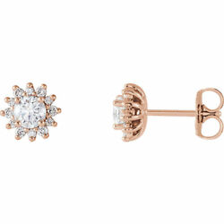 Diamant Halo-style Earrings In 14k Or Rose 1/2 Ct.