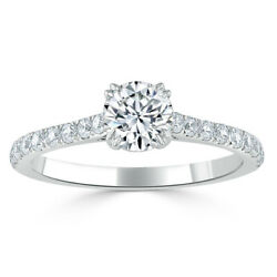 0.75 Ct Real Diamond Engagement Proposal Ring 14k Solid White Gold Size 4 5 6 7