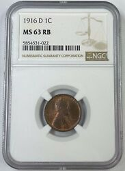 1916-d 1c Lincoln Cent Ngc Ms63 Rb