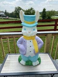 Vintage Empire Blow Mold Plastic Mr.easter Bunny Rabbit Made In The Usa 36andrdquo