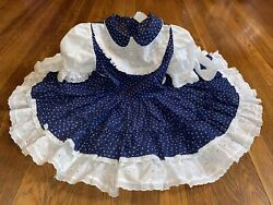 Vintage Child Toddler Girl Miss Quality Eyelet Heart Ruffle Party Dress Size 5