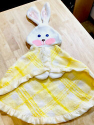 Vintage Fisher Price Yellow White Plaid Bunny Rabbit Lovey Security Blanket 79andrsquo