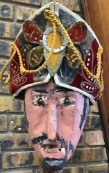 One Of A Kind Turn Of The Century Carnival Game Head Painted Wood With Stand