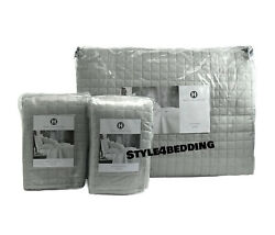 Hotel Collection Basic Grid King Quilted Coverlet + 2 King Shams Set Dove Gray