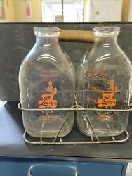 Vintage Lucky's Half Gallon Milk And Ice Cream 2 Bottle And Carrier Stockton Ca