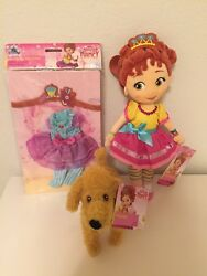 Disney Store Fancy Nancy 13 Plush And Stylish Doll 8 Frenchie Dog + Outfit Lot