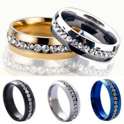 Fashion 6mm Gold Silver Stainless Steel Zircon Ring For Menandwomen Jewelry Gifts