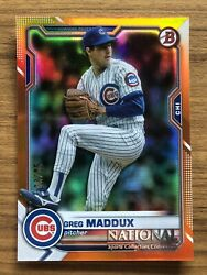 2021 Bowman The National GREG MADDUX Silver Pack Orange 25 #9 Chicago Cubs