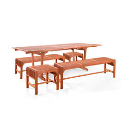 Vifah Malibu Outdoor 5-pc Wood Patio Table Backless Benches And Chairs Dining Set