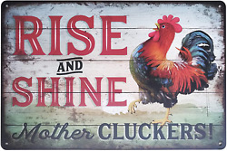 Careland FSTIKO Rise and Shine Mother Cluckers Funny Chicken Signs Retro Vintage