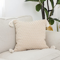 Snugtown Farmhouse Decor Throw Pillow Cover With Tassels, Boho Cable Knitted Pil