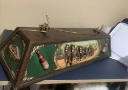 Vintage Budweiser Pool Table Light With 3-d Clydesdale Horses Rare And Nice