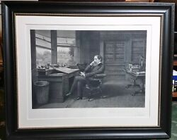 Charles Dickens In His Study At Gadshill - 1875 Engraving By Samuel Hollyer