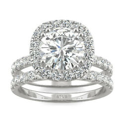 Moissanite By Charles And Colvard 8mm Round Bridal Set, 2.87cttw Dew