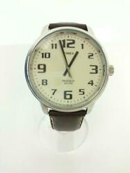 Timex 40th Ret28201 Quartz Leather Leather Brown Wrist Watch From Japan