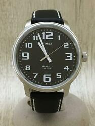 Timex Quartz Leather Indiglo Wr50m Leather Black Wrist Watch From Japan