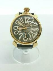 Gaga Milano Manuale48 Hand-rolled 501.07s Leather Wrist Watch From Japan