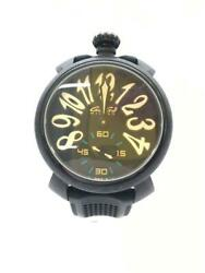 Gaga Milano Rubber Manuare 48mm 6062.01 Rubber Black Wrist Watch From Japan