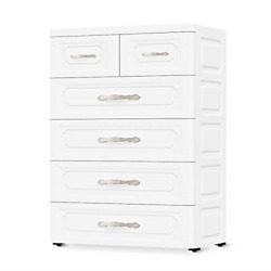 Conworld Plastic Dressers With Drawers, 6 Drawer White Dressers Tall Storage And