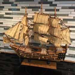 Wood Model Tall Ship Toy Boat With Cloth Sails Built 19 Inches