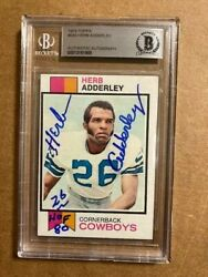 Herb Adderly Signed 1973 Topps Card Beckett Authenticated Hof Inscribed