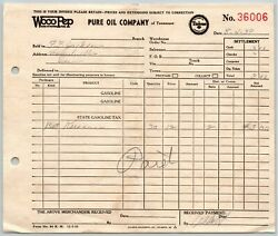 1939 Pure Oil Company Of Tennessee Woco Pep King Of Motor Fuel Receipt