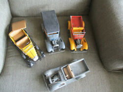 Vintage Antique Hubley Toys Diecast Metal 3 Model A Trucks And 1 32 Chevy Toy Car