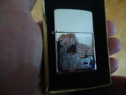 1992 Zippo Coca Cola Engraved Horse And Delivery Wagon Lighter - Nib Mint