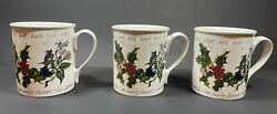 Portmeirion The Holly And The Ivy Set Of 3 Breakfast Mugs 10 Oz Made In Britain