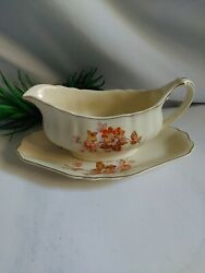 J And G Meakin, Made In England, Gravy Boat With Plate, Sunshine Pattern, Sol