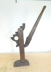 Vintage 1800s Iron And Wood Wagon Jack Antique Horse Western Gear Americana