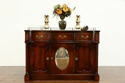 Traditional Antique Leather Top Sideboard Server Buffet Convex Mirror 38392