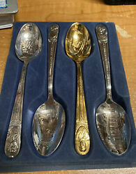 Wm Rogers President's Commemorative Spoon Collection Is Silver Plate Lot Of 4