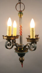 1 Of 2 Antique 1920s Spanish Revival Iron Chandelier W Polychrome Finish 13328